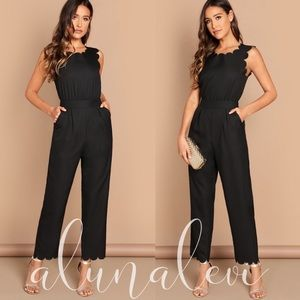 Black Scallop Edge Solid Jumpsuit